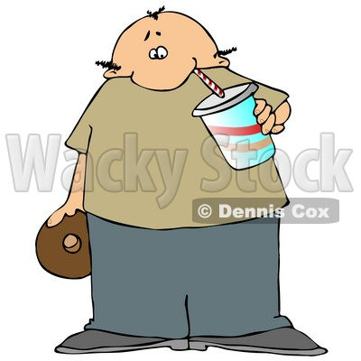 Chubby Balding Man Drinking Soda and Eating a Chocolate Donut Clipart Illustration © djart #12942