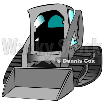 Gray Bobcat Skid Steer Loader With Blue Window Tint Clipart Graphic Illustration © djart #12954