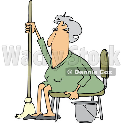 Clipart of a Tired or Lazy Sitting Senior White Woman with a Mop and Bucket - Royalty Free Vector Illustration © Dennis Cox #1296002