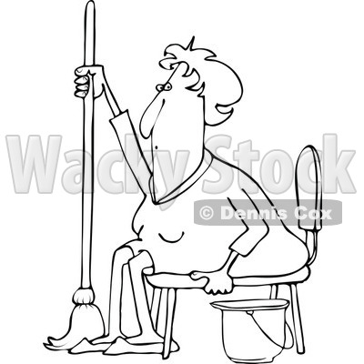 Clipart of a Black and White Tired or Lazy Sitting Senior Woman with a Mop and Bucket - Royalty Free Vector Illustration © djart #1296003