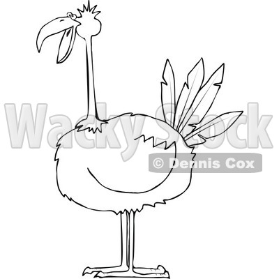 Clipart of a Black and White Big Bird - Royalty Free Vector Illustration © djart #1297784