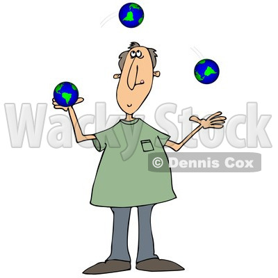Clipart of a Caucasian Man Juggling Earth Globes - Royalty Free Illustration © djart #1297787