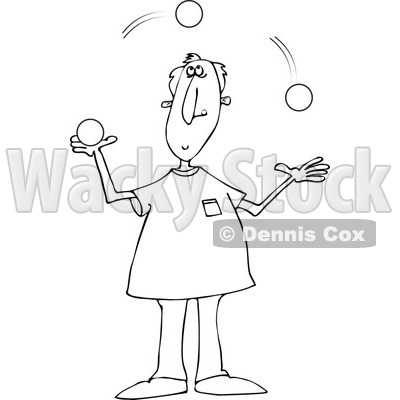 Clipart of a Black and White Man Juggling Balls - Royalty Free Vector Illustration © djart #1297789