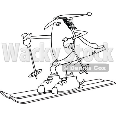 Lineart Clipart of a Black and White Chubby Caveman Wearing a Santa Hat and Skiing - Royalty Free Outline Vector Illustration © djart #1299487