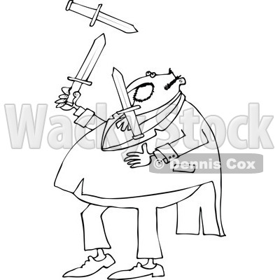 Lineart Clipart of a Black and White Chubby Man in a Tuxedo, Juggling Knives - Royalty Free Outline Vector Illustration © djart #1299492