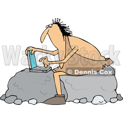 Clipart of a Chubby Caveman Sitting on Boulders and Using a Laptop Computer - Royalty Free Vector Illustration © djart #1300330