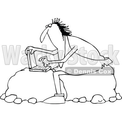 Outline Clipart of a Black and White Chubby Caveman Sitting on Boulders and Using a Laptop Computer - Royalty Free Lineart Vector Illustration © djart #1300331