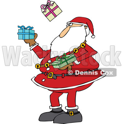 Clipart of a Christmas Santa Claus Juggling Wrapped Gifts - Royalty Free Vector Illustration © djart #1300334