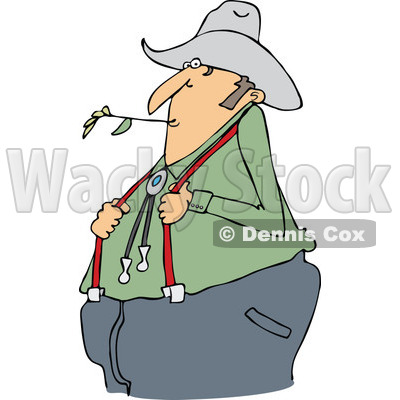 Clipart of a Cartoon Chubby White Male Farmer Holding His Suspenders and Chewing on Straw - Royalty Free Vector Illustration © djart #1300337