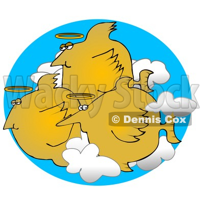 Group of Angel Fish With Halos Swimming in the Clouds Clipart Graphic Illustration © djart #13019