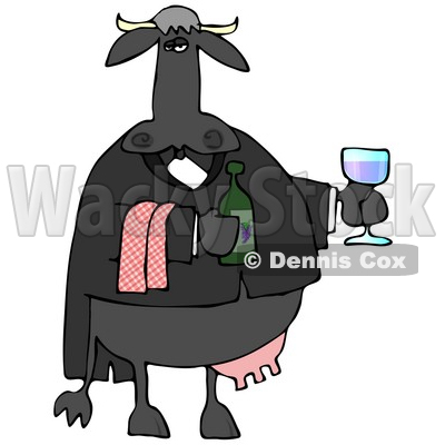 Male Cow Waiting Tables and Serving Wine Clipart Illustration © djart #13036