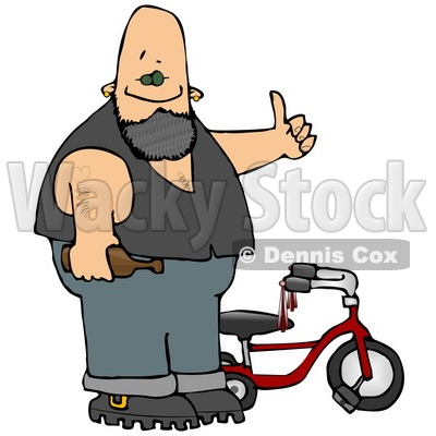 Biker Man With Tattoos, Holding a Beer Bottle and Standing by His Tricycle Clipart Illustration © djart #13043