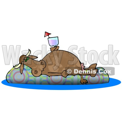 Happy Cow Drinking a Beverage and Relaxing on a Floatation in a Swimming Pool Clipart Illustration © djart #13048