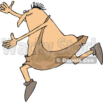 Clipart of a Cartoon Chubby Caveman Falling Forward and Tripping - Royalty Free Vector Illustration © djart #1305088