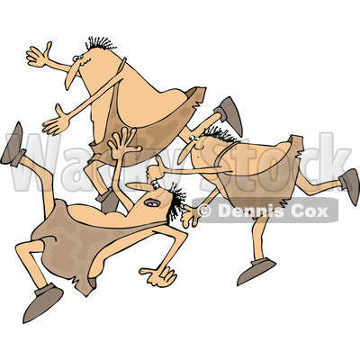Clipart of a Cartoon Group of Chubby Cavemen Tripping and Falling - Royalty Free Vector Illustration © djart #1305093
