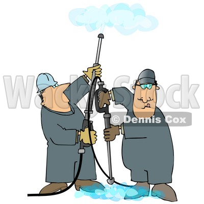 Couple of Men Using Pressure Washers to Clean Ceilings and Floors Clipart Illustration © djart #13051