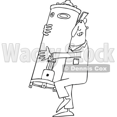 Lineart Clipart of a Cartoon Black and White Plumber Worker Man Carrying a Water Heater - Royalty Free Outline Vector Illustration © djart #1305577