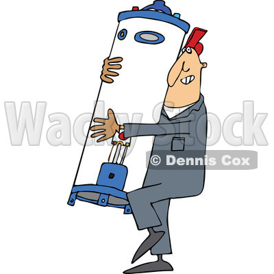Clipart of a Cartoon White Plumber Worker Man Carrying a Water Heater - Royalty Free Vector Illustration © djart #1305580