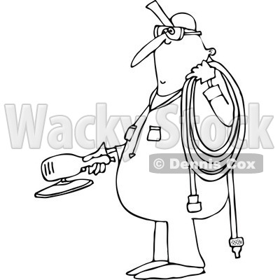 Lineart Clipart of a Cartoon Black and White Chubby Worker Man Holding a Grinder and an Air Hose - Royalty Free Outline Vector Illustration © djart #1305943