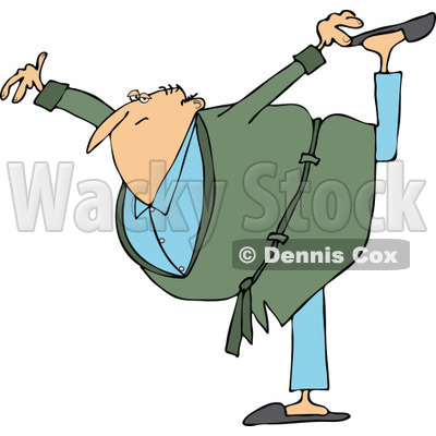 Clipart of a Cartoon Chubby Senior White Man in a Green Robe, Balancing on One Foot - Royalty Free Vector Illustration © djart #1311955