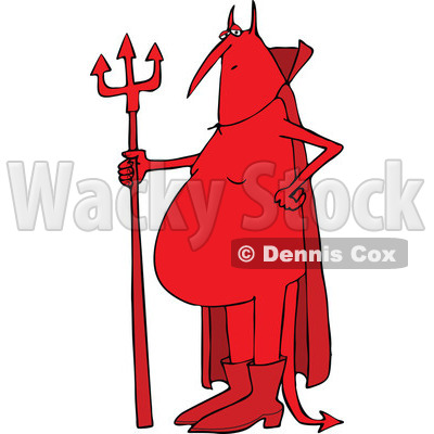 Clipart of a Cartoon Fat Red Devil Standing with a Pitchfork - Royalty Free Vector Illustration © djart #1312550