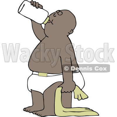 Clipart of a Cartoon Black Baby Boy Standing with a Blanket and Drinking from a Bottle - Royalty Free Vector Illustration © djart #1313796