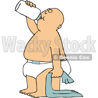 Clipart of a Cartoon White Baby Boy Standing with a Blanket and Drinking from a Bottle - Royalty Free Vector Illustration © djart #1313797