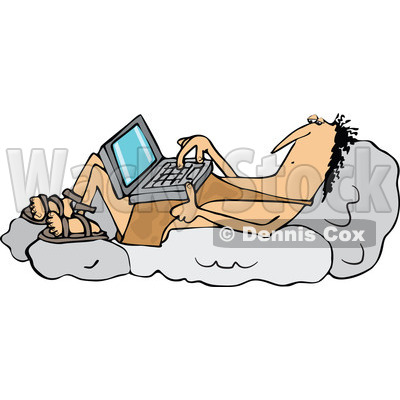 Clipart of a Cartoon Chubby Caveman Reclined on Boulders and Using a Laptop Computer - Royalty Free Vector Illustration © djart #1315991