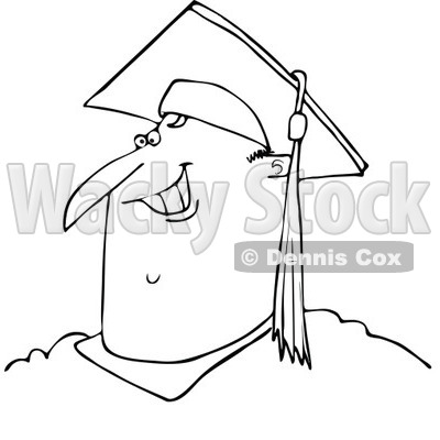 Lineart Clipart of a Cartoon Black and White Happy Chubby Male Graduate Smiling, from the Shoulders up - Royalty Free Outline Vector Illustration © djart #1321109