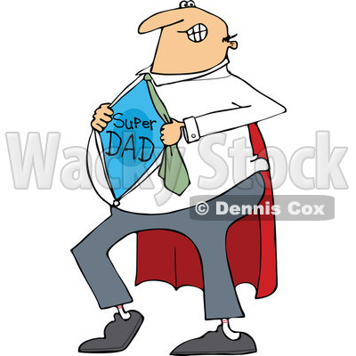 Clipart of a Cartoon Chubby White Dad Showing His Super Hero Shirt - Royalty Free Vector Illustration © djart #1321112