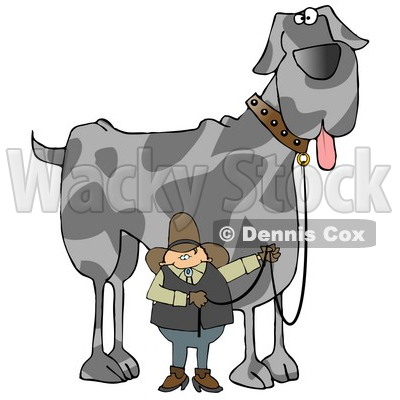 Cowboy Walking a Giant Great Dane Dog on a Leash Clipart Illustration © djart #13220