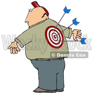 Man With a Bullseye and Arrows in His Back Clipart Illustration © djart #13228