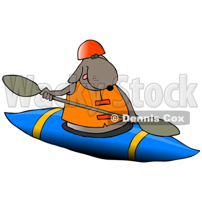 Happy Dog Kayaking Clipart Illustration © djart #13234