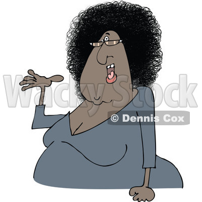 Clipart of a Cartoon Chubby Presenting Black Woman with Glasses and an Afro Hair Style - Royalty Free Vector Illustration © djart #1334110