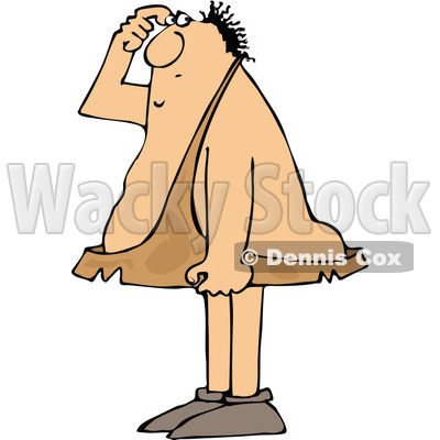 Clipart of a Cartoon Chubby Caveman Scratching His Head and Thinking - Royalty Free Vector Illustration © djart #1337804