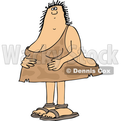 Clipart of a Cartoon Chubby Cave Woman Holding Her Stomach - Royalty Free Vector Illustration © djart #1337897