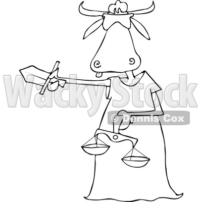 Lineart Clipart of a Cartoon Black and White Blindfolded Lady Justice Cow Holding a Sword and Scales - Royalty Free Outline Vector Illustration © djart #1340955