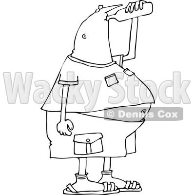 Lineart Clipart of a Cartoon Black and White Chubby Man Drinking Water from a Bottle - Royalty Free Outline Vector Illustration © djart #1340956