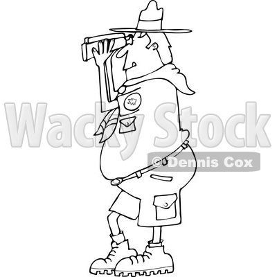 Lineart Clipart of a Cartoon Black and White Scout Man Facing Left and Looking Through Binoculars - Royalty Free Outline Vector Illustration © djart #1340958