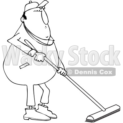 Lineart Clipart Of A Cartoon Black And White Chubby Worker