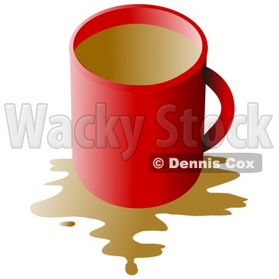Clipart of a Red Coffee Cup with a Spill over White - Royalty Free Illustration © djart #1345503