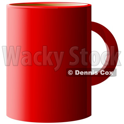 Clipart of a Red Coffee Cup over White - Royalty Free Illustration © djart #1345504