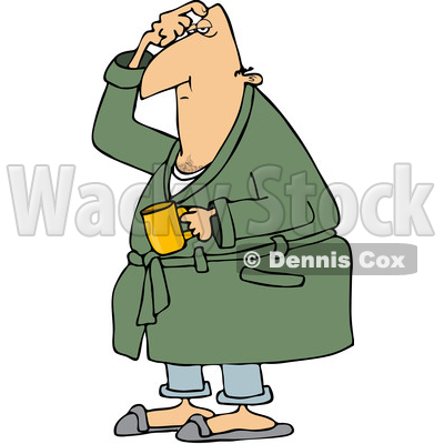 Clipart Of A Cartoon Chubby White Man In His Robe Scratching Head And Holding