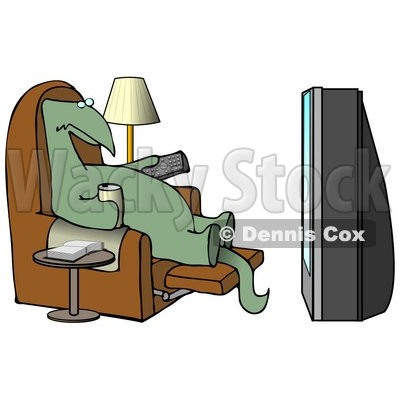 Lazy Dino Drinking a Beer and Holding a Remote Control While Sitting in a Lazy Chair and Watching a Big Projection TV Clipart Illustration © djart #13463