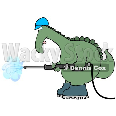 Big Green Dino in a Hard Hat and Boots Operating a Pressure Washer Clipart Illustration © djart #13465