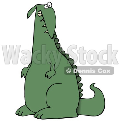 Guilty Green Dino Clipart Illustration © djart #13466