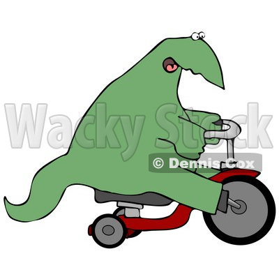 Happy Dino Riding a Tricycle Clipart Illustration © djart #13470