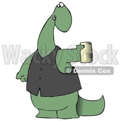 Green Dino in a Vest, Holding a Can of Beer Clipart Illustration © djart #13471