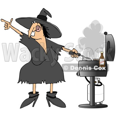 of a Cartoon Chubby Halloween Witch Grilling on a Bbq - Royalty ...