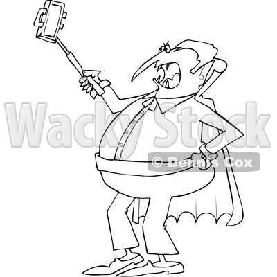Outline Clipart of a Cartoon Black and White Chubby Halloween Dracula Vampire Taking a Selfie with a Cell Phone - Royalty Free Lineart Vector Illustration © djart #1347290